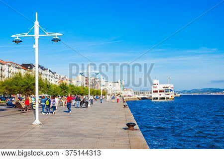 Santander, Spain - September 26, 2017: Santander City Embankment Promenade, A Capital Of Cantabria R