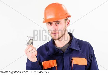 Builder Earn Money, Repairman Holds Cash, Banknotes In Hand.