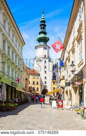 Bratislava, Slovakia - May 11, 2017: Michaels Gate In Old Town Of Bratislava, Slovakia. Michaels Gat