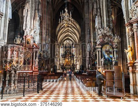 Vienna, Austria - May 12, 2017: St. Stephens Cathedral In Vienna, Austria. St Stephens Cathedral Is