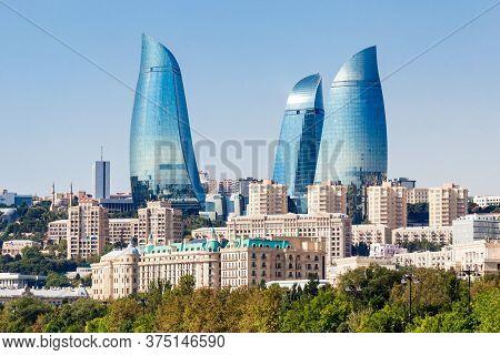 Baku, Azerbaijan - September 15, 2016: Baku Flame Towers Is The Tallest Skyscraper In Baku, Azerbaij
