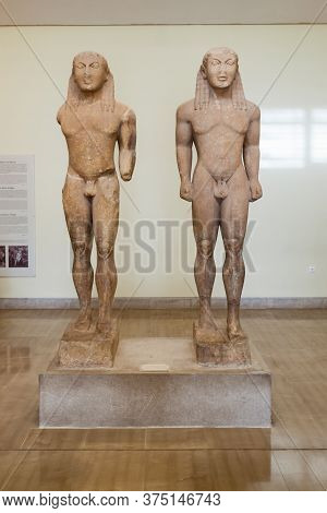 Delphi, Greece - October 15, 2016: The Twin Statues By Polymedes Of Argos Or Kleobis And Biton At De