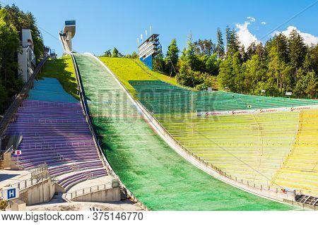 Innsbruck, Austria - May 22, 2017: The Bergisel Sprungschanze Stadion Is A Ski Jumping Hill Stadium