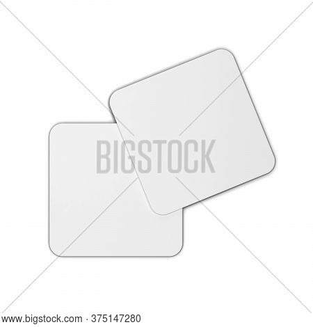 Two Blank Coasters Mock Up. 3d Illustration Isolated On White Background