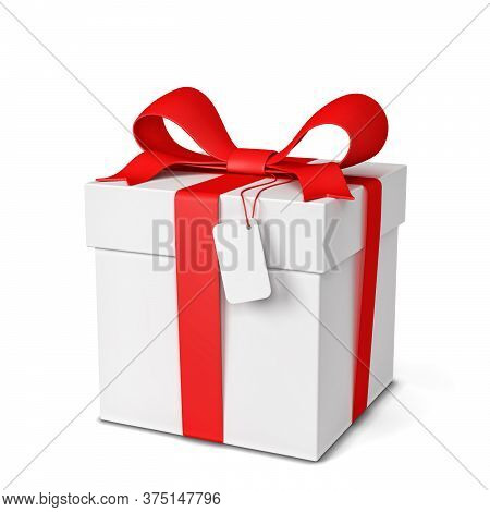 Gift Box With Colourful Bow And Ribbon. 3d Illustration Isolated On White Background