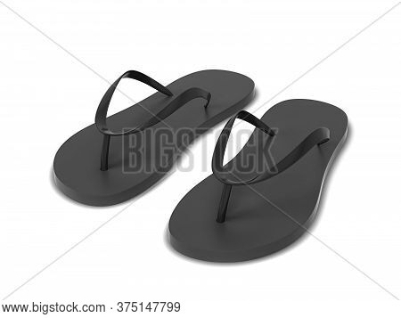 Pair Of Blank Flip Flops. 3d Illustration Isolated On White Background