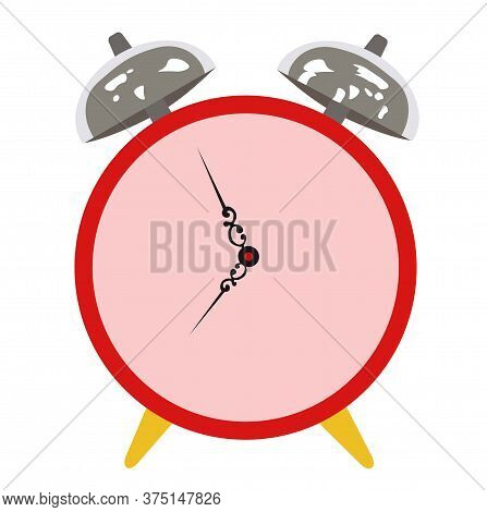 Vector Stock Illustration Of A Red Alarm Clock. Time. Table Clock With Hands. Night Time 07: 55 . Is