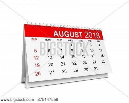 2018 Year Calendar. Week Starts With Sunday. 3d Illustration Isolated On White Background