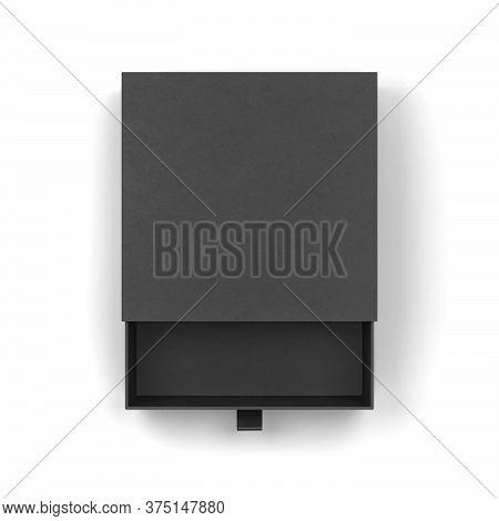 Blank Drawer Type Box Mockup. 3d Illustration Isolated On White Background