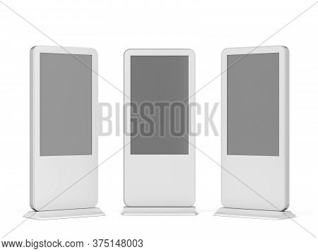 Digital Screen Display Stand. 3d Illustration Isolated On White Background