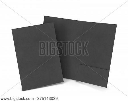 Blank Paper Folder Mockup. 3d Illustration Isolated On White Background