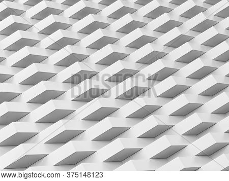 Abstract White Geometric Background. 3d Illustration For Design