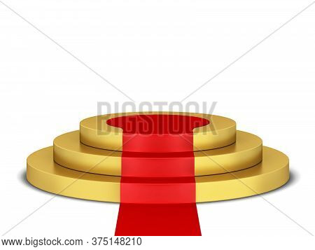 Podium With Red Carpet. 3d Illustration Isolated On White Background