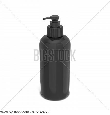 Blank Bottle For Liquid Cosmetics. 3d Illustration Isolated On White Background