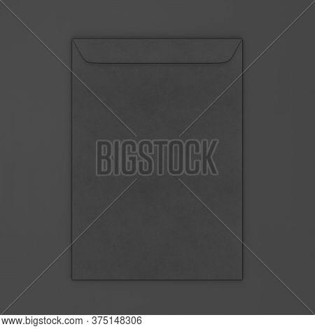 Blank Paper C4 Envelope. 3d Illustration On Dark Background