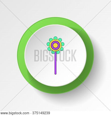 Cartoon Rattle Toy Colored Button Icon. Signs And Symbols Can Be Used For Web, Logo, Mobile App, Ui,