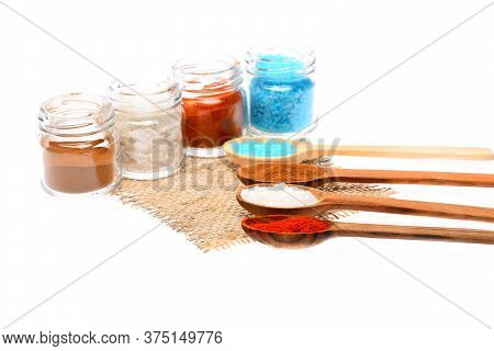 Set Of Seasoning On Piece Of Sackcloth. Taste And Flavoring
