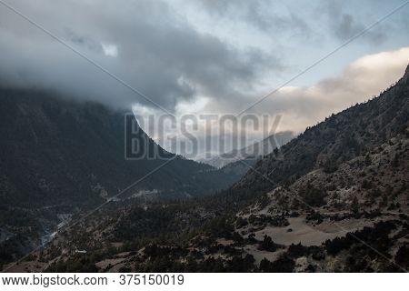 Mountains Surrounding Upper Pisang, Over Marshyangdi River, Annapurna Circuit, Nepal