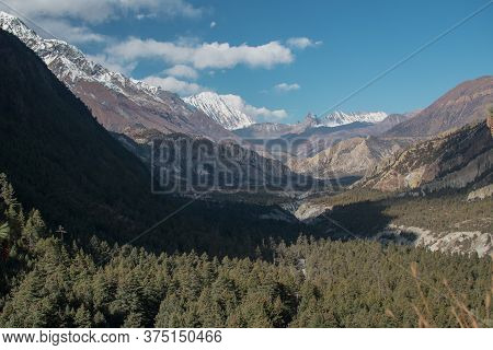Mountains Trekking Annapurna Circuit, Marshyangdi River Valley