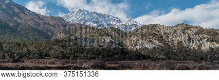 Panorama Of Mountains Trekking Annapurna Circuit, Marshyangdi River Valley, Humde, Himalaya, Nepal,