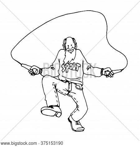 Sports Old Man In Jeans, Grandfather Jumping Rope, Childrens Game, Skipping, Vector Illustration Wit