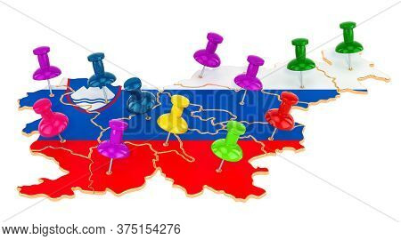 Map Of Slovenia With Colored Push Pins, 3d Rendering Isolated On White Background