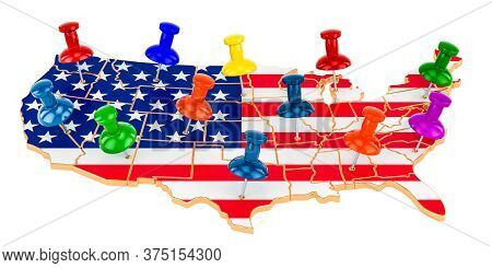 Map Of The United States With Colored Push Pins, 3d Rendering Isolated On White Background