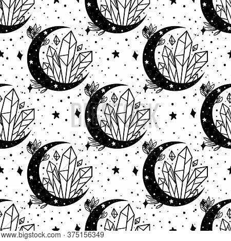 Seamless Pattern Mystical Moon With Crystal And Stars. Stars, Constellations, Moon, Crystals.