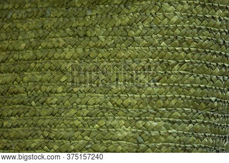 Close Up Of Green Starw Wicker Material Texture