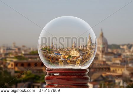 Rome Panorama In A Glass Transparent Bowl Rome, Italy