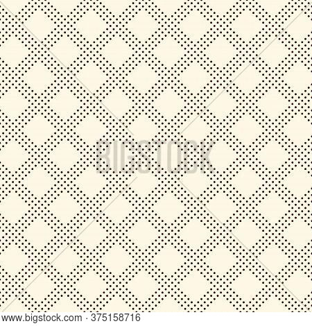 Polka Dot Seamless Pattern. Repeated Dotted Diagonal Stripes Texture. Round Spots Motif. Mini Circle