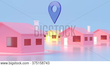 3d Map Of City With Navigator Pin Locator. Navigation, Location Route, Travel And Tourism Planning C