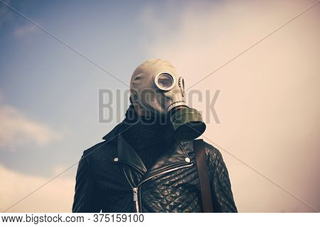 Close Up. Casual Guy In A Gas Mask