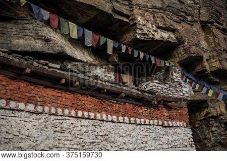 Buddhist Prayer Flags At Praken Gompa Over Manang Village, Trekking Annapurna Circuit