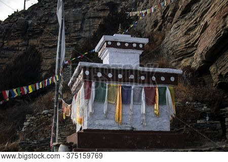 Buddhist Monument By Praken Gompa Over Manang Village, Annapurna Circuit, Nepal