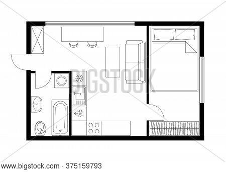 Apartment plan layout studio, condominium, flat, house. One bedroom plan apartment small space. Interior design elements kitchen, bedroom, bathroom with furniture. Vector floorplan living room.
