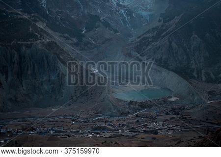 Above Manang Mountain Village And Glacier Lake, Trekking Annapurna Circuit, Nepal