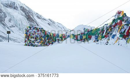 Thorung La Pass Summit Covered In Heavy Snow, December, Himalaya, Nepal, Asia