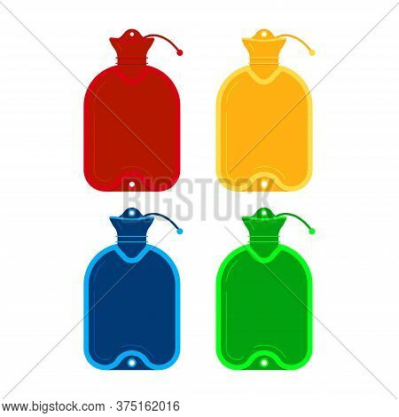 Medical Warmer Icon Set Isolated On White Background. Red, Yellow, Blue, Green Warming Pan - Rubber