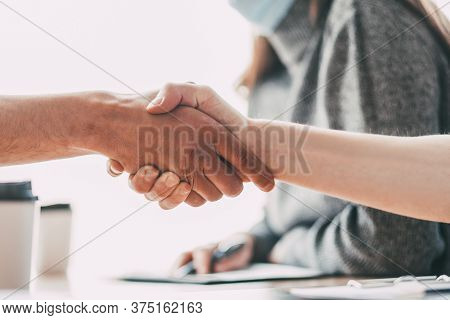 Close Up. Handshake Of Business People In The Office.