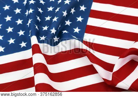 Closeup of rippled American flag