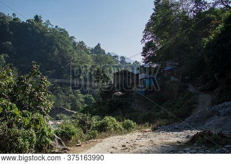 Village With Tea Houses And A Suspention Bridge, Annapurna Circuit, Nepal