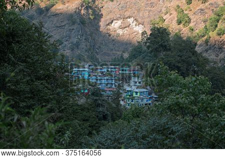 Overlooking Jagat, Colorful Mountain Village In Marshyangdi River Valley, Annapurna Circuit, Nepal