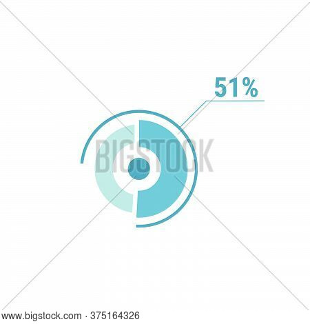 Circle Diagram Fifty One Percent Pie Chart 51. Circle Percentage Vector Diagram. Flat Vector Illustr
