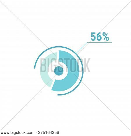 Circle Diagram Fifty Six Percent Pie Chart 56. Circle Percentage Vector Diagram. Flat Vector Illustr