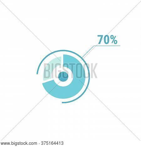 70 Seventy Percent Vector Circle Chart, Percentage Diagram Graph For Web Ui Design, Flat Vector Illu