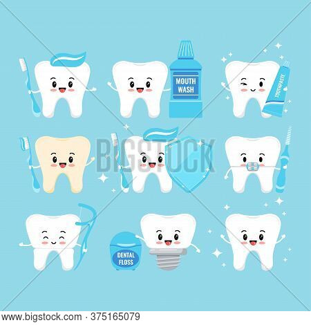 Cute Teeth With Oral Hygiene Products Icons Set Isolated On White Background. Tooth With Braces, Imp
