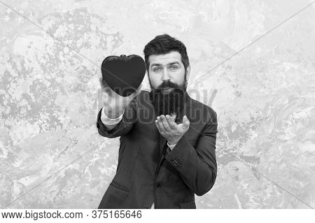 Romantic Boyfriend. Feast Of Saint Valentine. Generous Man. Handsome Man Hold Red Heart. Businessman