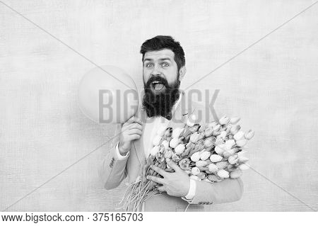 Spring Mood. Love Date. Gift Bouquet. Present For Spouse. Guy With Air Balloon. Birthday Party. Bear