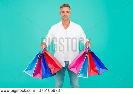 Handsome Buyer. Free Shipping. Mature Man Hold Shopping Bags. Seasonal Sale. Hipster Buying Sale Pri